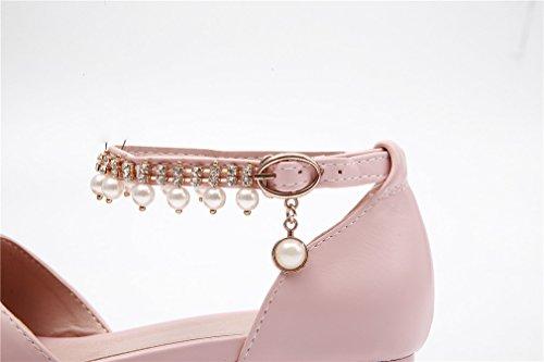 YE Damen Flache Spitze Pumps mit Knöchelriemchen und Perlen Bequem Schuhe Rosa