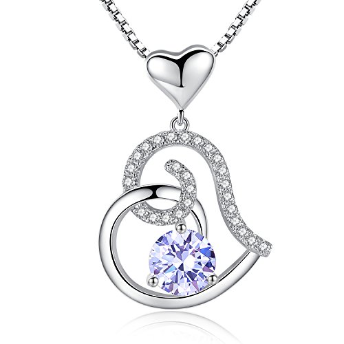 - Studiocc LightAmethyst June Birthstone Necklace, Ladies Birthday Necklace Gifts, Love Heart Cubic Zirconia CZ Pendant Necklace, Jewelry for Women, Girls, Friendship, Wife, Mom, Mother, Her