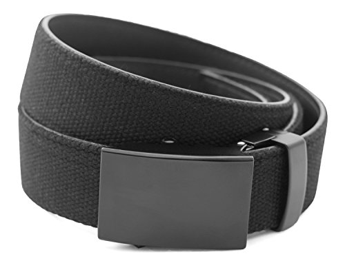 Anson Belt & Buckle - Men's Classic Black Buckle with Black Canvas/Leather Strap