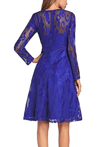 Casual Blue Scoop Skater Mujer Cuello Ol La Encaje L Patwork MIDI Crochet De Vestido Mesh Swing Noche Sq5Zw