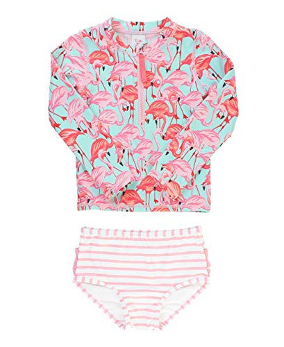 RuffleButts Little Girls Fab Flamingo Long Sleeve Zipper Rash Guard Bikini - 3T ()