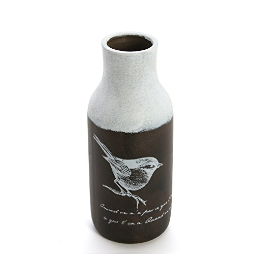 Hosley Ceramic Bird Floral Vases - 11.75 Inch High. Great Gift for Wedding, Home, Spa, Aromatherapy, Kitchen ()