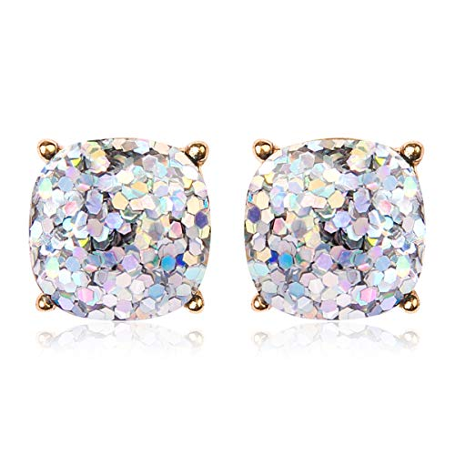 (RIAH FASHION Square Glitter Stud Earrings for Women - Sparkly Small Sequin Confetti Cushion Post Back Statement Studs (Glitter - Silver))