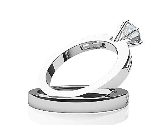 Or blanc 14K Baguette de mariage Ensemble