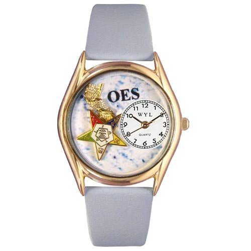 Whimsical Watches Women's C0710008 Classic Gold Order of the Eastern Star Light Blue Leather And Goldtone Watch