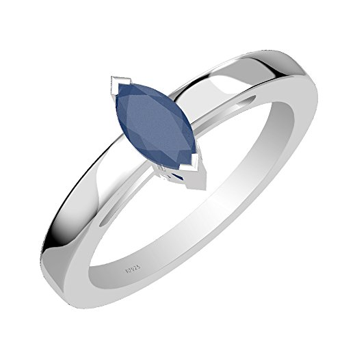 0.65ctw,Genuine Sapphire 4x8mm Marquise & Solid .925 Sterling Silver One Stone Ring ()
