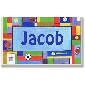 The Kids Room by Stupell Jacob, Contemporary Sports Personalized Rectangle Wall Plaque