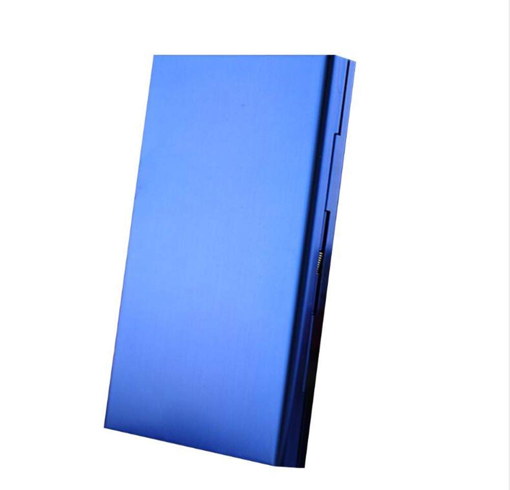 20-Pack Ladies Cigarette Case, Aluminum Alloy Ultra-Thin Cigarette Case with Creative Gifts (Color : Blue)
