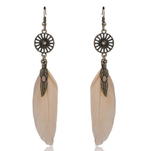 Yuriao Jewelry Elegant Retro Feather Leaf Dangle Earrings£¨white£