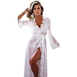 Goddessvan Women Lingerie Babydoll Sleepwear Lace Underwear Nightwear +G-string (S, White)