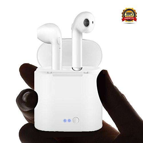 - SABURONA Twins Bluetooth Wireless Headphone Earbuds Built in mic Charging Station Noise Cancellation Crystal Clear Stereo Sound Compatible iPhone X 8 8plus 7 7plus 6S Samsung S7 S9 Android