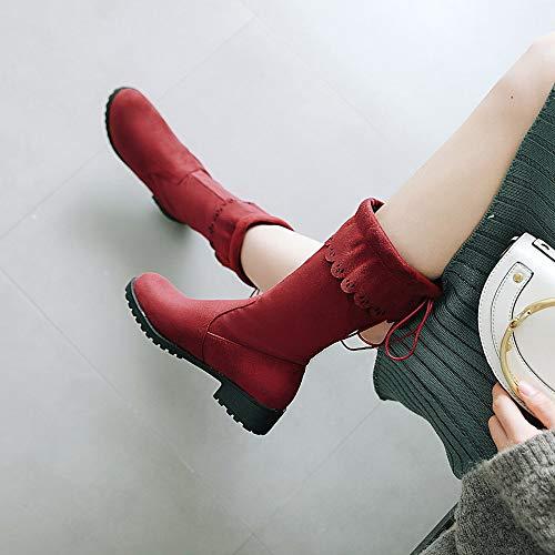 Scarpe Bassa Stivali Corti Testa ☁ Vovotrade Antiscivolo Tacco Da Alto Basse Casual Donna Fibbia Con Aiuto Spessa Tonda Rosso 088wzax