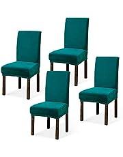 Argstar 2,4,6,Pack Velvet Chairs Covers for Dining Room, 4 Washable Plush Parson Chairs Covers, Velvet Chairs Protectors for Dining Chairs Set of 2, Teal