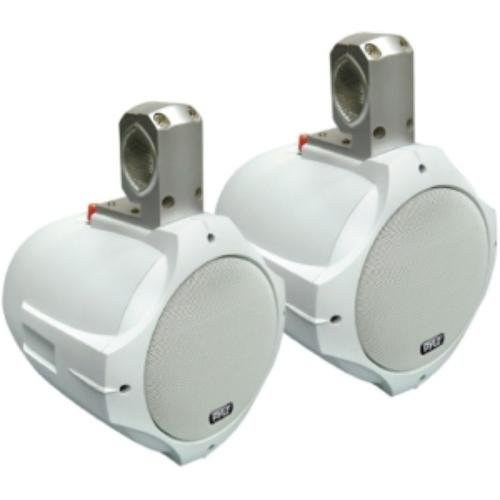 "10' 200w Speaker - Waterproof Marine Wakeboard Tower Speakers - 6.5in Dual Subwoofer Speaker Set and 1"" Tweeter with 200 Watt Power - 2-way Boat Audio Stereo System with Mounting Bracket - 1 Pair - PLMRW65 (White)"