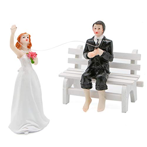 WSSROGY Funny Cake Topper Hooked on Love Fishing Groom and Bride Wedding Cake Toppers ()