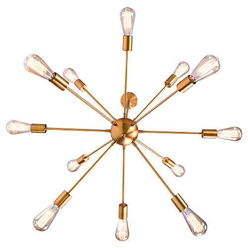 OYI Sputnik Chandelier, 12 Lights Pendant Lighting Modern Industrial Starburst Style Mid Century Retro Ceiling Light Fixture E26 Socket Brass Finish