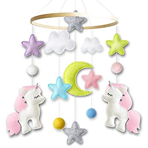 Baby Crib Mobile by Giftsfarm, Unicorn Baby Mobile for Girl Nursery Décor