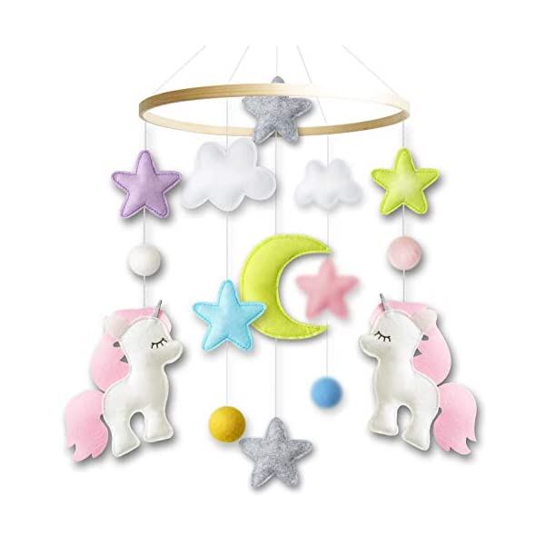 Baby Crib Mobile by Giftsfarm, Unicorn Baby Mobile for Girl Nursery Décor