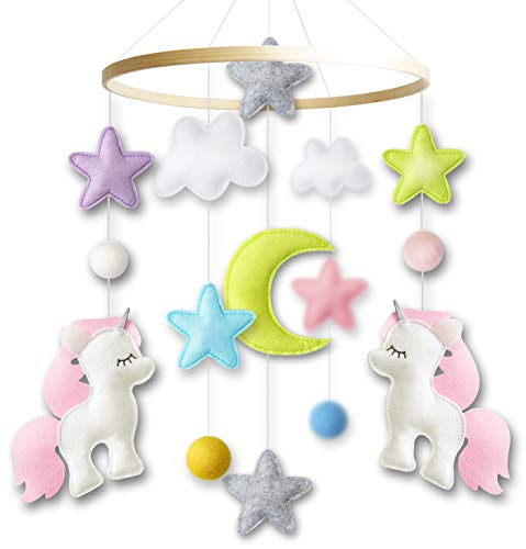 Baby Crib Mobile by Giftsfarm, Unicorn Baby Mobile for Girl Nursery Décor (2019 New Design)