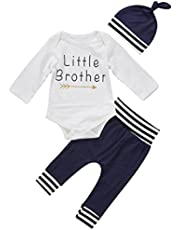 gllive Baby Boys' Cute 3Pcs Long Sleeve Letter Print Romper+Pants+Hat Outfits Set