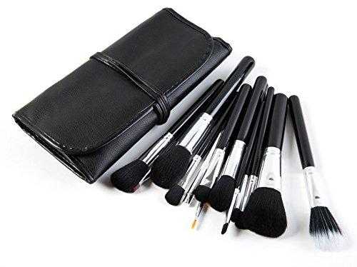 Puna Store Premium Quality Makeup Brush Set - 15 Piece Set with Black Leather Case BLACK