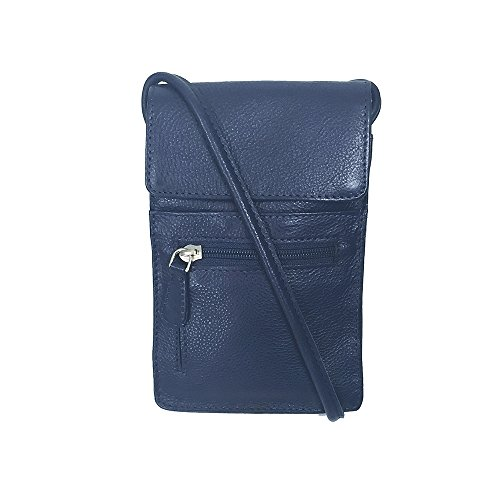 Leather Blue Silver - Pielino Women's Genuine Leather Small Crossbody Bag Cell Phone Purse (Navy Blue)