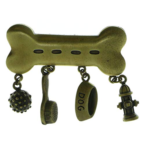 Mi Amore Dog Bone Dog Associated Charms Brooch-Pin Gold-Tone