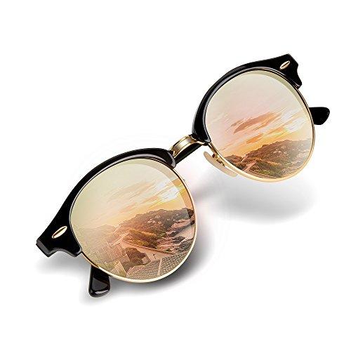 Unisex Clubround Round Aviator Sunglasses,Shades for Women Men by Wenlenie - Half Rim Tortoise Glasses Shell