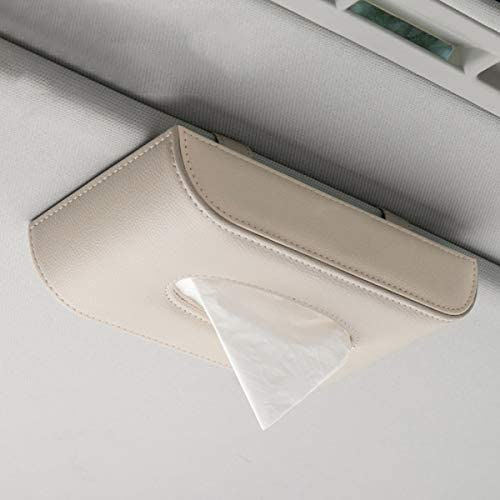 FGFGG PU-Leder Auto Taschentuchbox mit Magnetverschluss, Papierhandtuchbehälter für Zuhause, Büro und Auto Dekoration (inklusive 1 Paket Taschentuch) Sitting Schwarz
