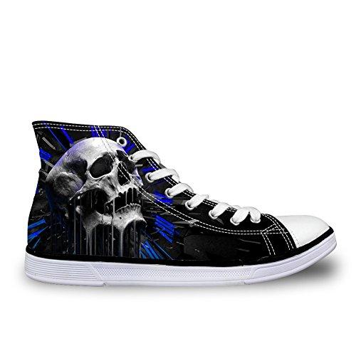 Per Te Disegni Cranio Punk Mens Scarpe Di Tela High Top Sneakers Traspiranti Skull-5