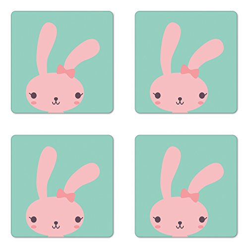 - Lunarable Cute Coaster Set of Four, Pink Bunny with Long Ears and Bowknot Kawaii Inspired Childish Girly Doodle Rabbit, Square Hardboard Gloss Coasters for Drinks, Seafoam Pink