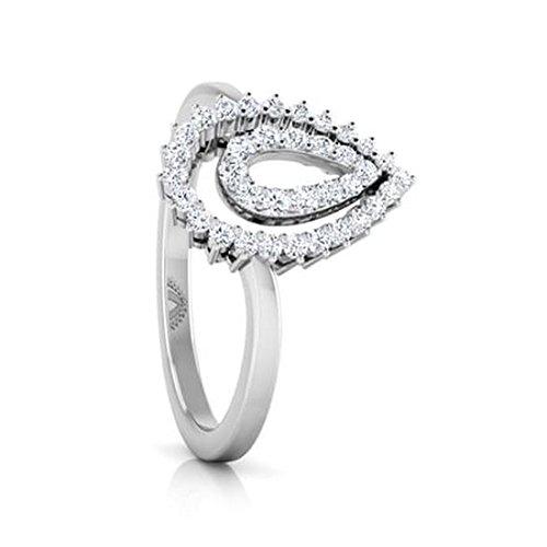 18K Or Blanc, 0,33carat Diamant Taille ronde (IJ   SI) en diamant
