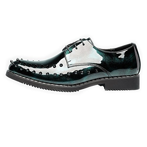 in fodere up Primavera 2018 rivetti fodera 44 uomo Scarpe EU Fang e shoes punk stile da Verde liscia traspirante pelle Dimensione Prom sintetica Verde fodera in Color Estate con lace THqnEUw