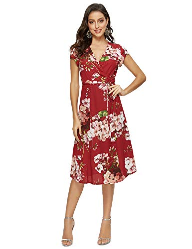 Floral Wrap Chiffon (Escalier Women's Floral Wrap Dress Split V Neck Tie Front Chiffon Party Midi Dresses Floral 05 X-Large)