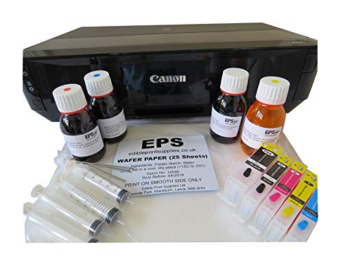 CANON IP7250 EDIBLE IMAGE PRINTER KIT (inc refillable cartridges, 400ml...