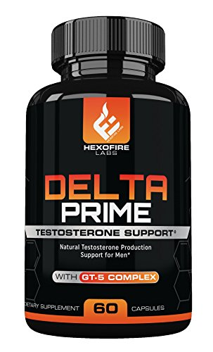 HexoFire Labs Delta Prime, Delta Prime Testosterone Production Support Capsules with Vitamin D Zinc & GT-5 Herbal Blend, 60 Capsules (30 Day Supply)