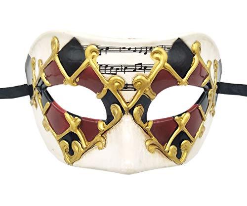 Mens Masquerade Mask Roman Greek Mask Halloween Mardi Gras Carnival Party Mask (B Burgundy) ()