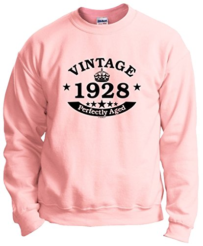 90th Birthday Gifts for Brother 90th Birthday Gift Vintage 1928 Perfect Aged Crown Crewneck Sweatshirt Medium Light Pink