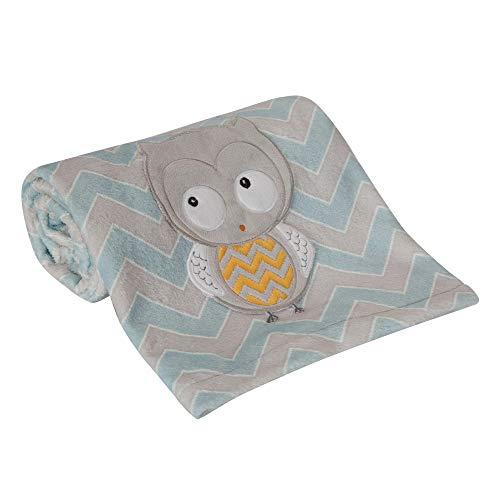 Lambs & Ivy Happi by Dena Night Owl Blue/Gray Chevron Baby Blanket