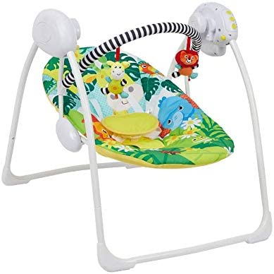 Deluex Foldable Baby Bouncer Safari Animals First Swing Soothing Music and Toys