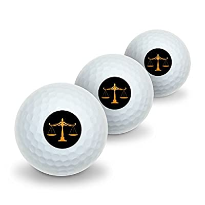 Scales Of Justice Legal Lawyer Novelty Golf Balls 3 Pack