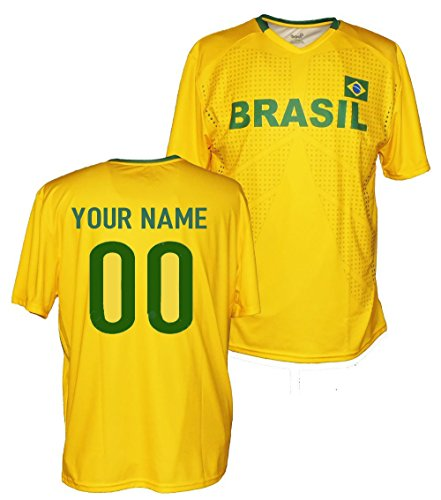 (Custom Brazil Jersey Tee - Any Name & Number (Large))
