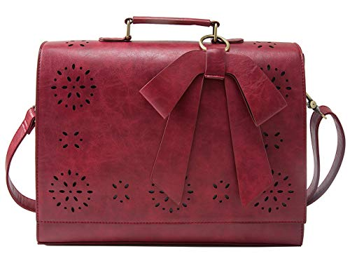 ECOSUSI Ladies PU Leather Laptop Bag Briefcase Crossbody Messenger Bags Satchel Purse Fit 14 inches Laptop, - Clutch Bow Mini