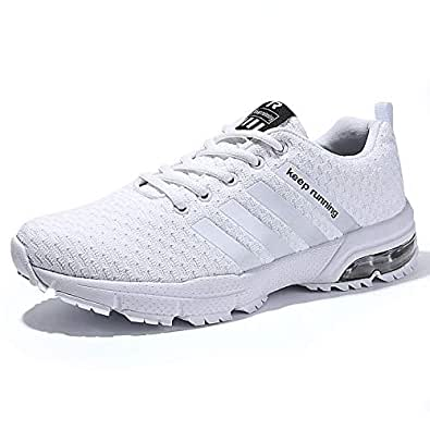 Men's Running Sports Shoes Air Cushion Breathable Sneakers for Men White