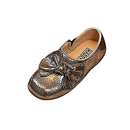 Amanod Children Kid Infant Bowknot Solid Bling Leather Zip Dance Princess Single - Dance Day Ideas Date