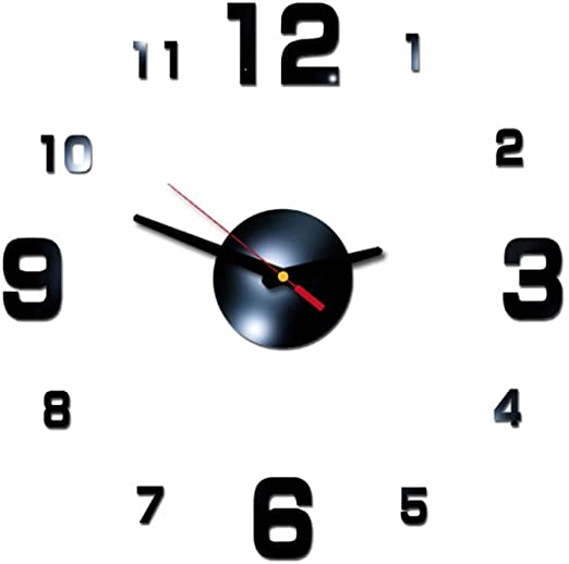 DIY Large Wall Clock with Special Pattern 3D Mirror Surface Art Sticker LJ
