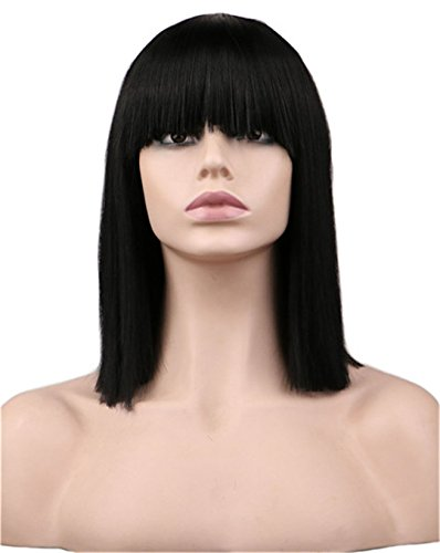 Women Short Neat Bang Bob Style Straight Cosplay Wig Party Costume Natrual Black 40 Cm Synthetic Hair Wigs 16inches ()