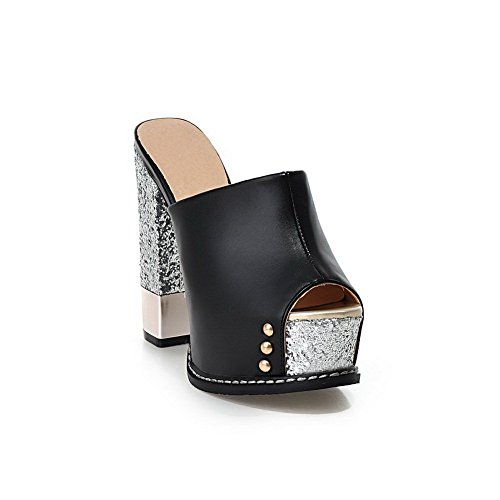 High Slippers Heels Studded Rivet BalaMasa Material Ladies Soft Black nROxPCP