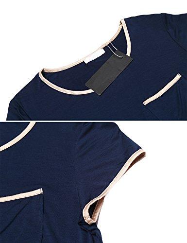 U Camici Navy Manica Pigiami Notte Comodo xxl A Vestaglia Da S Donna Semplice Blu Maxmoda Corta Accappatoi Scollo Camicia 0RvT6