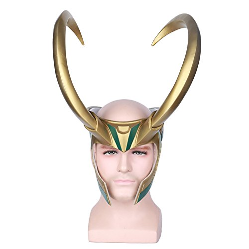 Halloween Loki Cosplay PVC Mask Half Face Golden Giant Horns Helmet (Loki Helmet Costume)